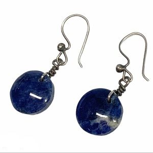 Stlg silver blue sodalite natural stone earrings